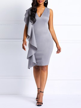 Ericdress Bodycon Ruffles V-Neck Women's Dress