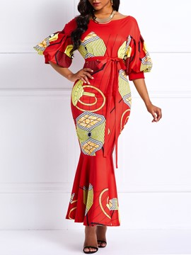 Ericdress Lantern Sleeve Lace-Up Ankara Print Mermaid Dress