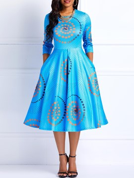 Ericdress Ankara Print Round Neck Three-Quarter Sleeve Color Block A-Line Dress
