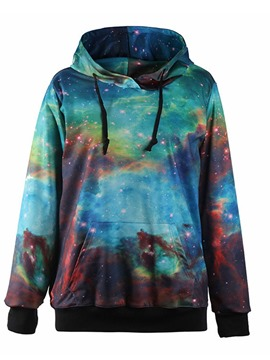 Ericdress Wrapped Regular Galaxy Hooded Mid-Length Hoodie