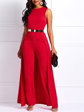Ericdress Patchwork Slim Overlay Embellished Plain Women's Jumpsuit(Without Belt)