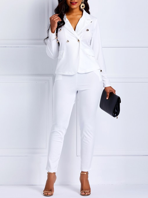 Ericdress Plain Pockets Notched Lapel Pencil Pants Women's Formal Suit
