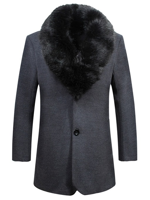 Ericdress Plain Fur Collar Single-Breasted Mens Winter Wool Coats