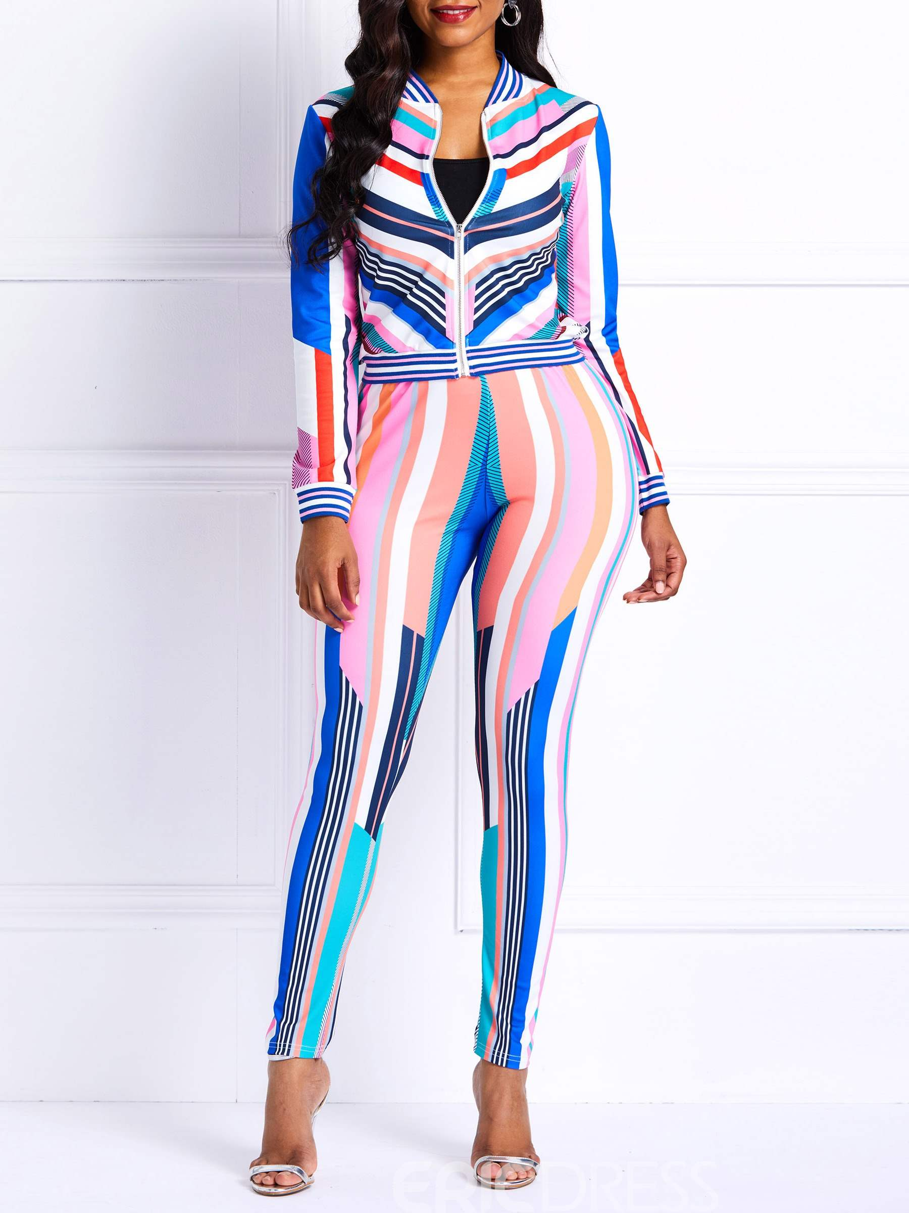Ericdress Striped Color Block Skinny Jacket and Pencil Pants Women's Two Piece Sets