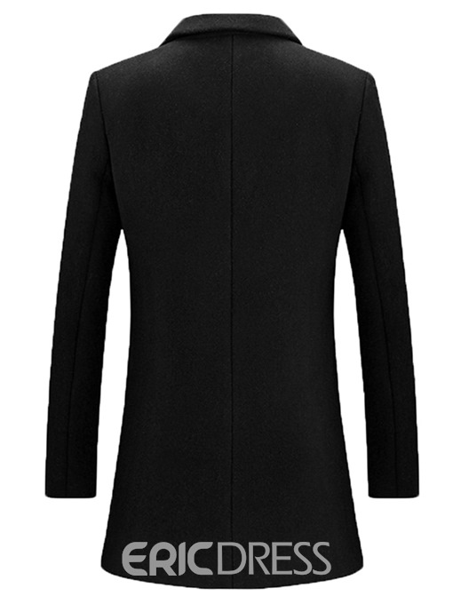 Ericdress Plain Mid-Length Notched Lapel Mens Casual Wool Coats
