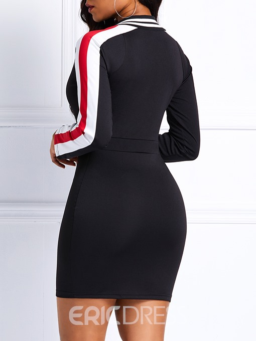 Ericdress Above Knee Long Sleeve Bodycon Stripe Dress