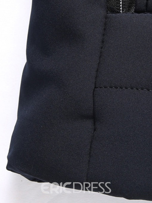 Ericdress Plain Stand Collar Cashmere Lining Mens Quilted Jacket