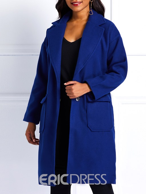 Ericdress One Button Straight Pocket Mid-Length Winter Overcoat