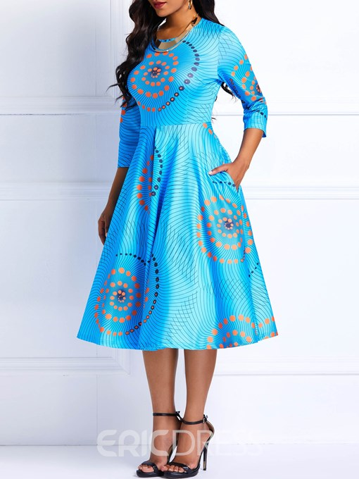 Ericdress African Fashion Ankara Color Block A-Line Dress