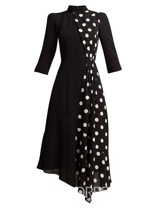 Ericdress Polka Dots Color Block Asymmetrical Pullover Dress