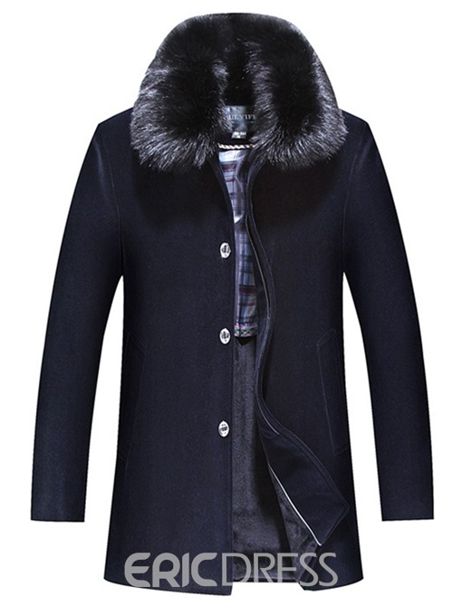 Ericdress Plain Lapel Fur Collar Winter Single-Breasted Mens Wool Coat