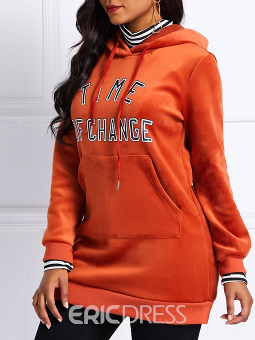Ericdress Letter Pocket Long Sleeve Winter Hoodie