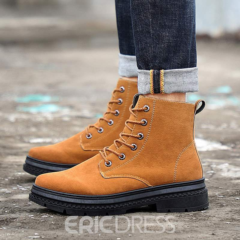 Ericdress Faux Suede Round Toe Side Zipper Men's Martin Boots