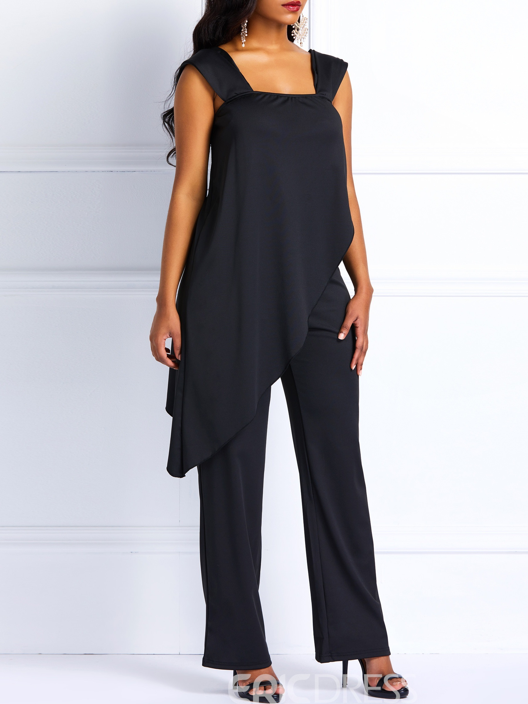 Ericdress Asymmetric Plain Backless Women's Jumpsuit
