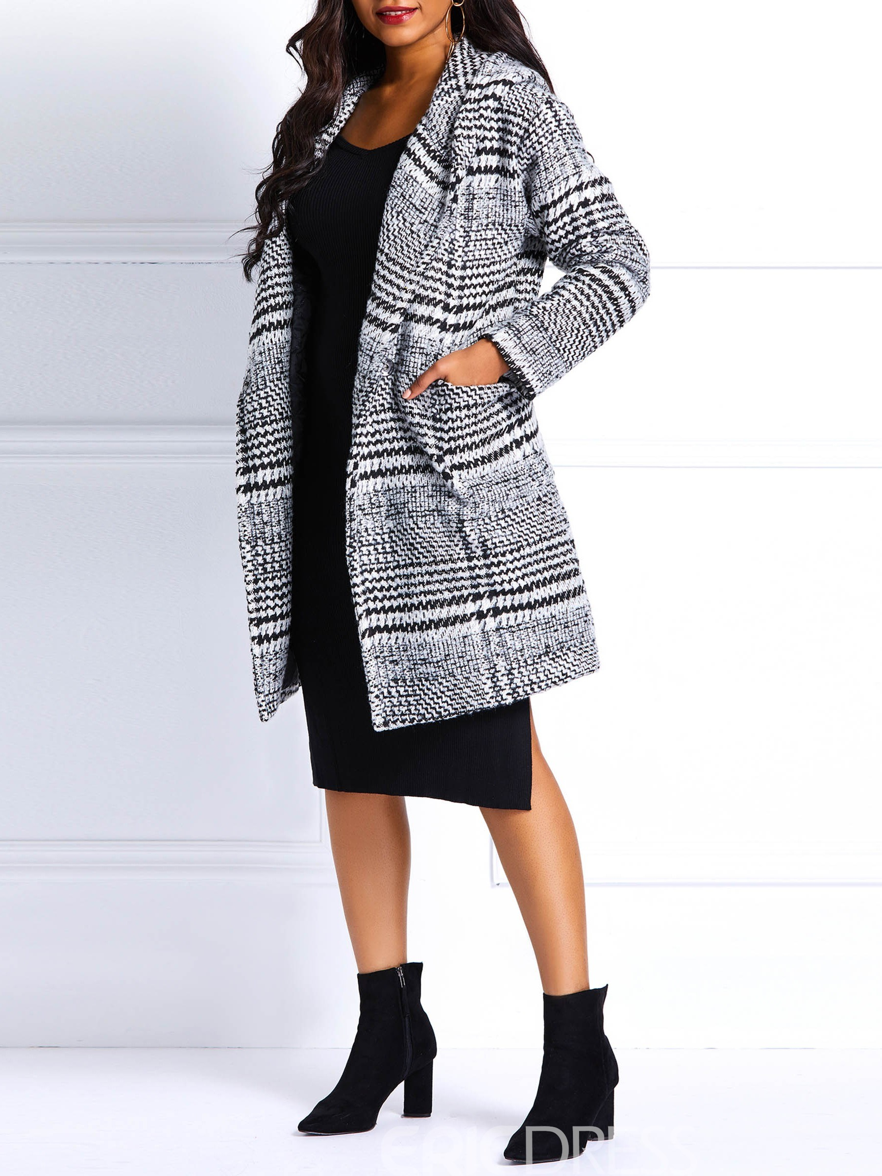 Ericdress Pocket One Button Straight Fall Mid-Length Overcoat