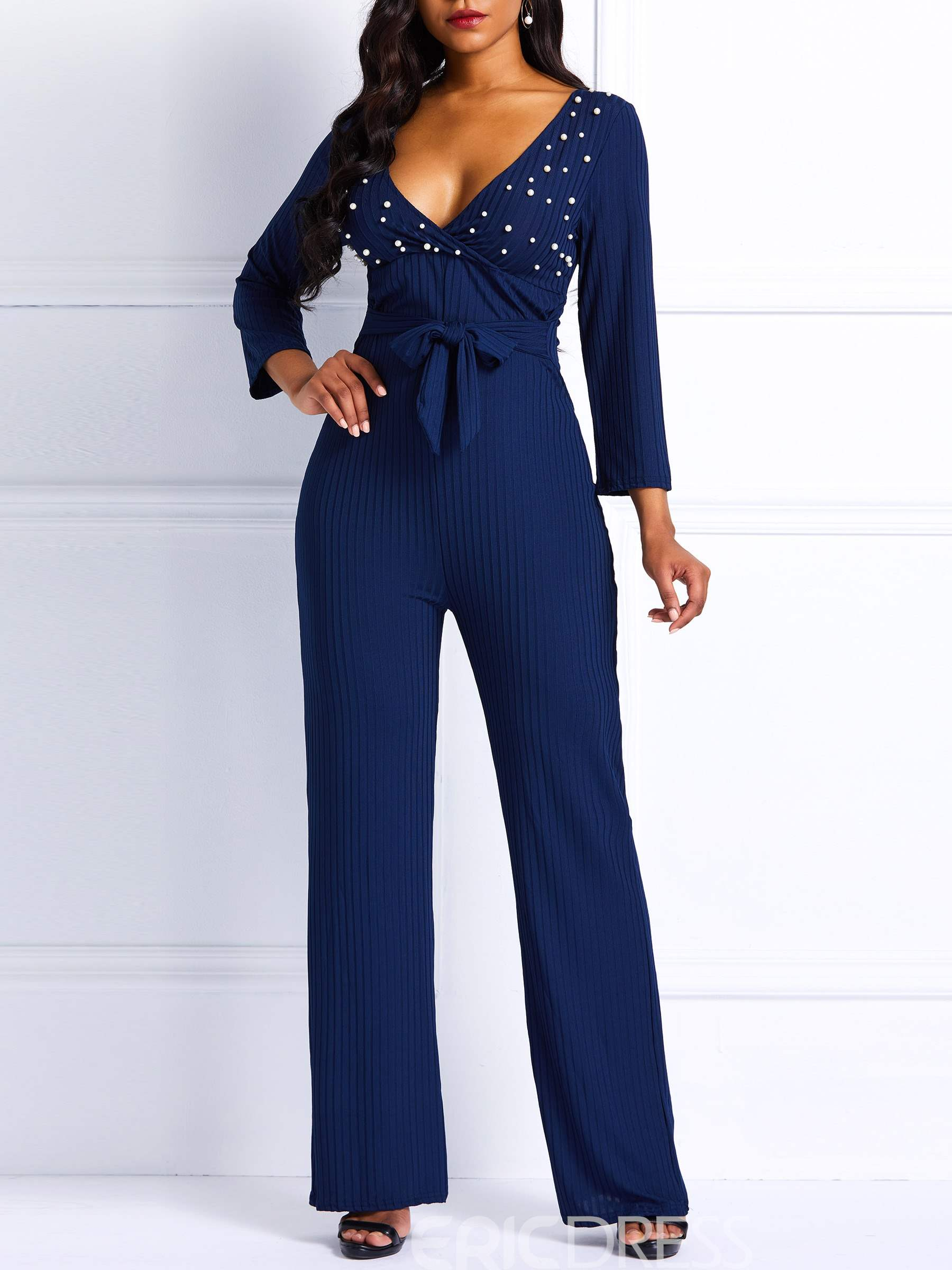 Ericdress Bead Plain Spandex Slim High-Waist Women's Jumpsuits