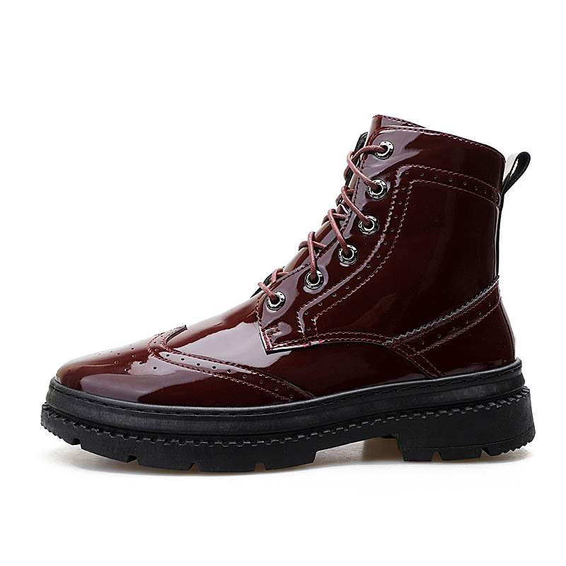 Ericdress Plain Lace-Up Round Toe Men's Martin Boots