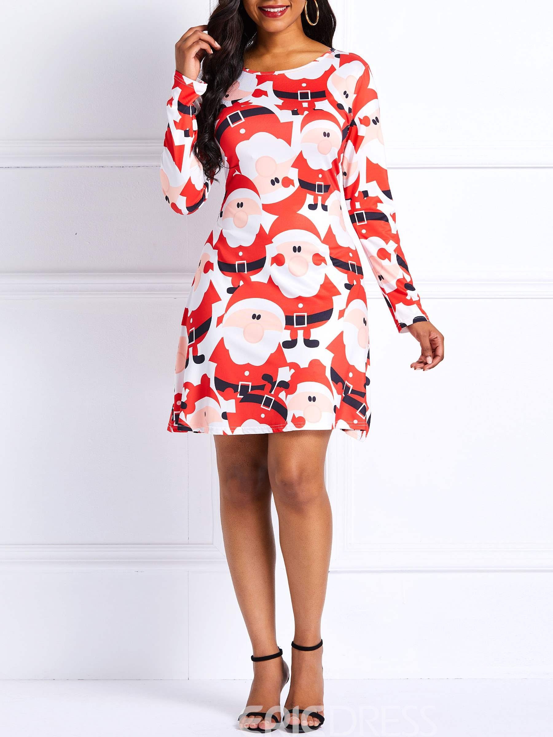 Ericdress Christmas Long Sleeves Print A-Line Dress