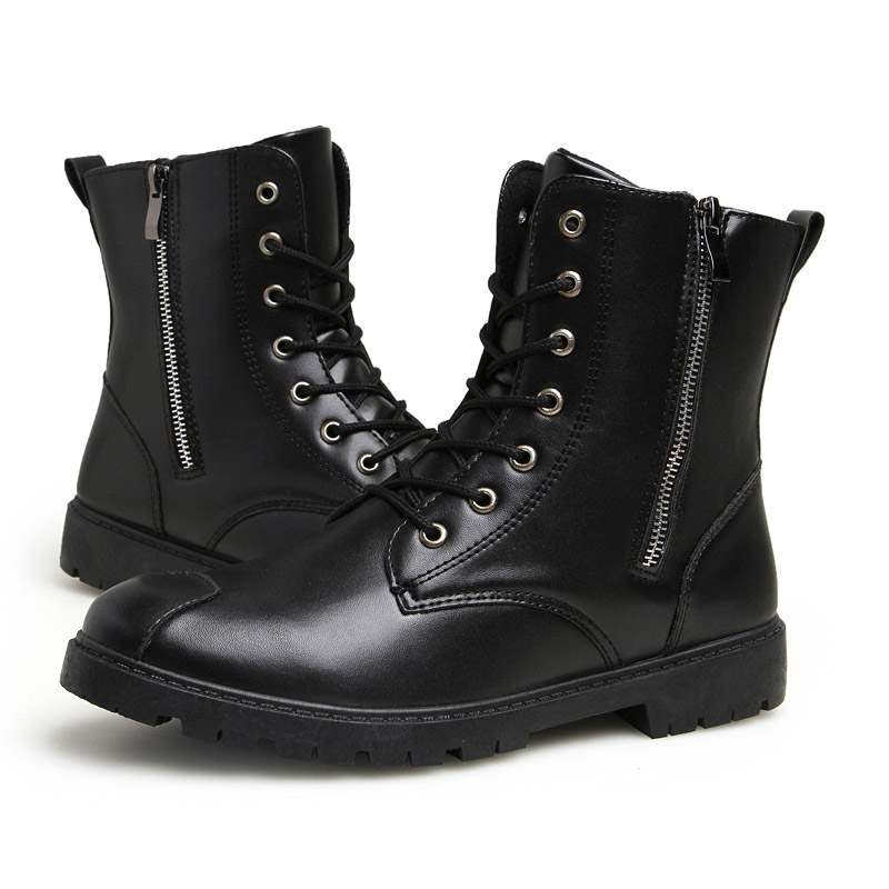 Ericdress Plain Side Zipper Round Toe Men's Martin Boots