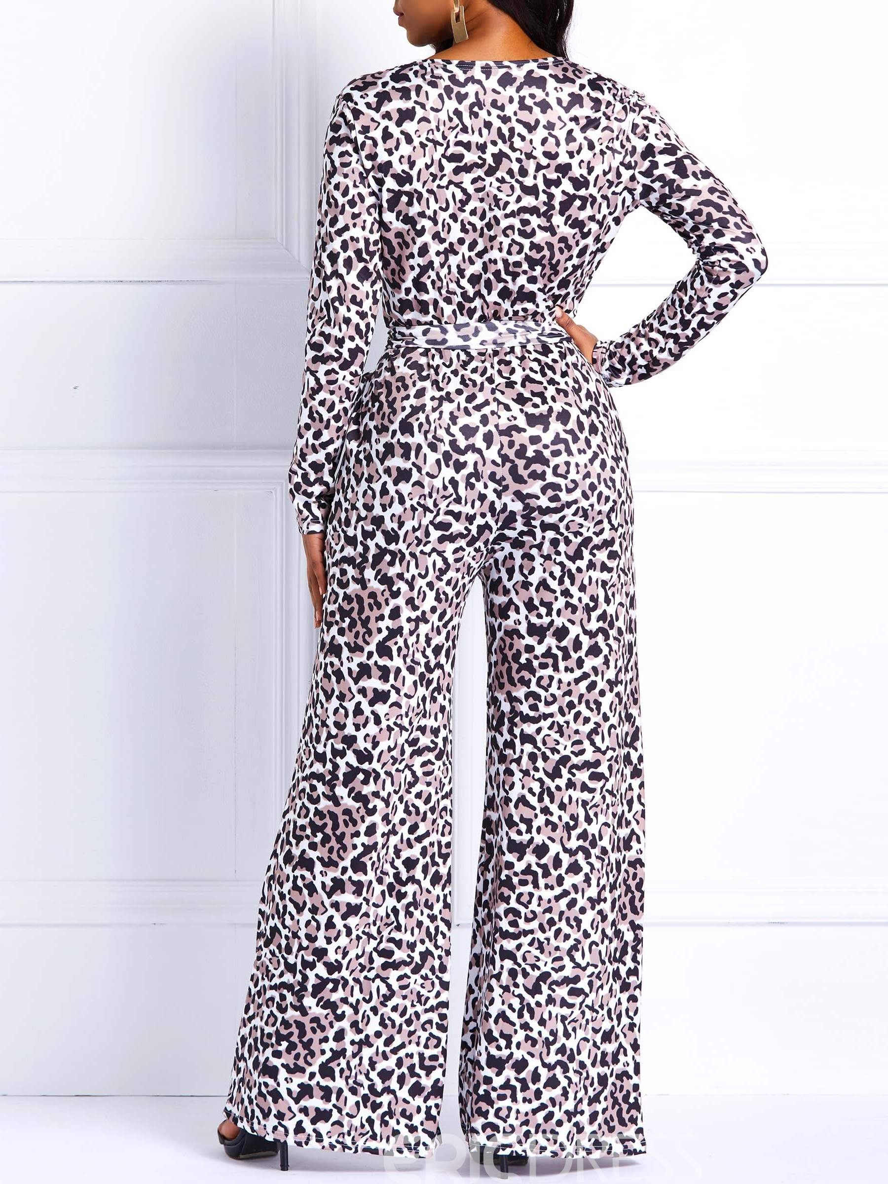 Ericdress Leopard Print Wide Legs Loose Jumpsuits