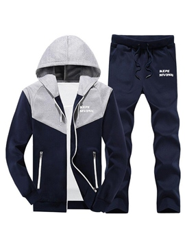 Ericdress Hooded Patchwork Long Pant Men's Tracksuit