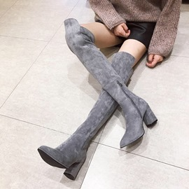 Ericdress Faux Suede Side Zipper Chunky Heel Women's Knee High Boots