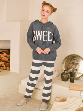 Ericdress Letter Stripe Hooded Women's Pajama Set