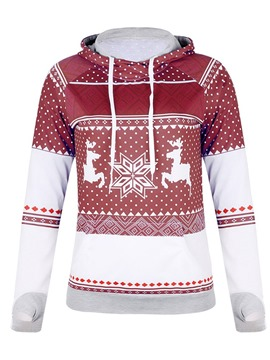 Ericdress Geometric Print Regular Hooded Standard Christmas Hoodie