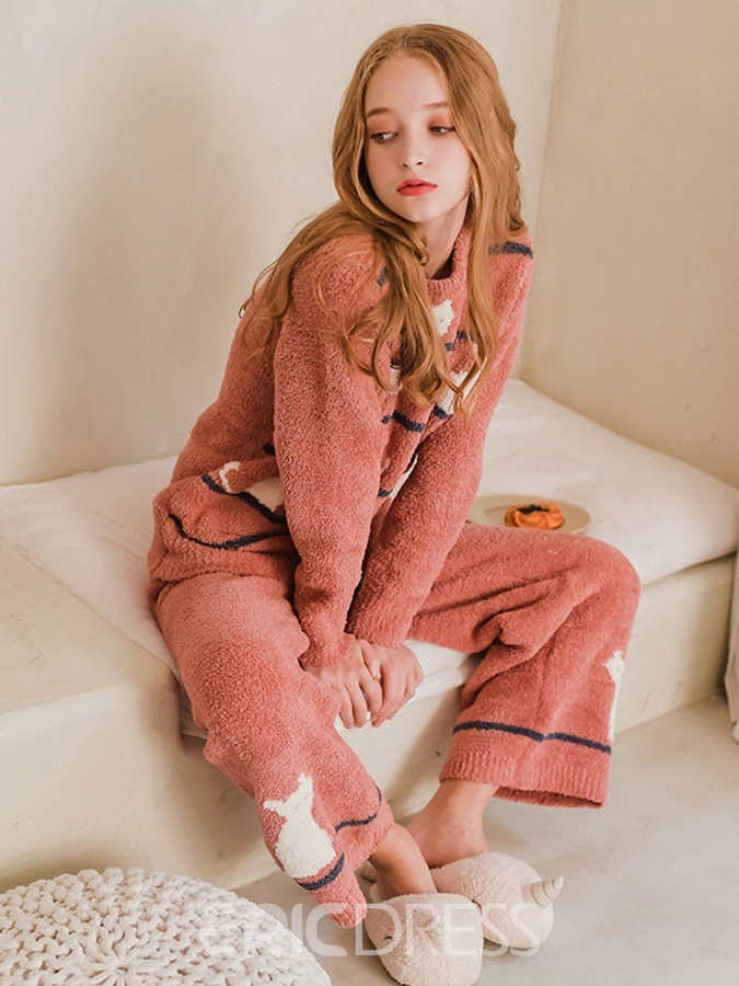 Ericdress Animal Stripe Long Women's Pajama Set