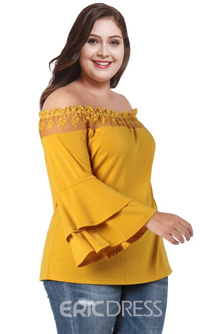 Ericdress Lace Flare Sleeve Off Shoulder Plus Size Blouse