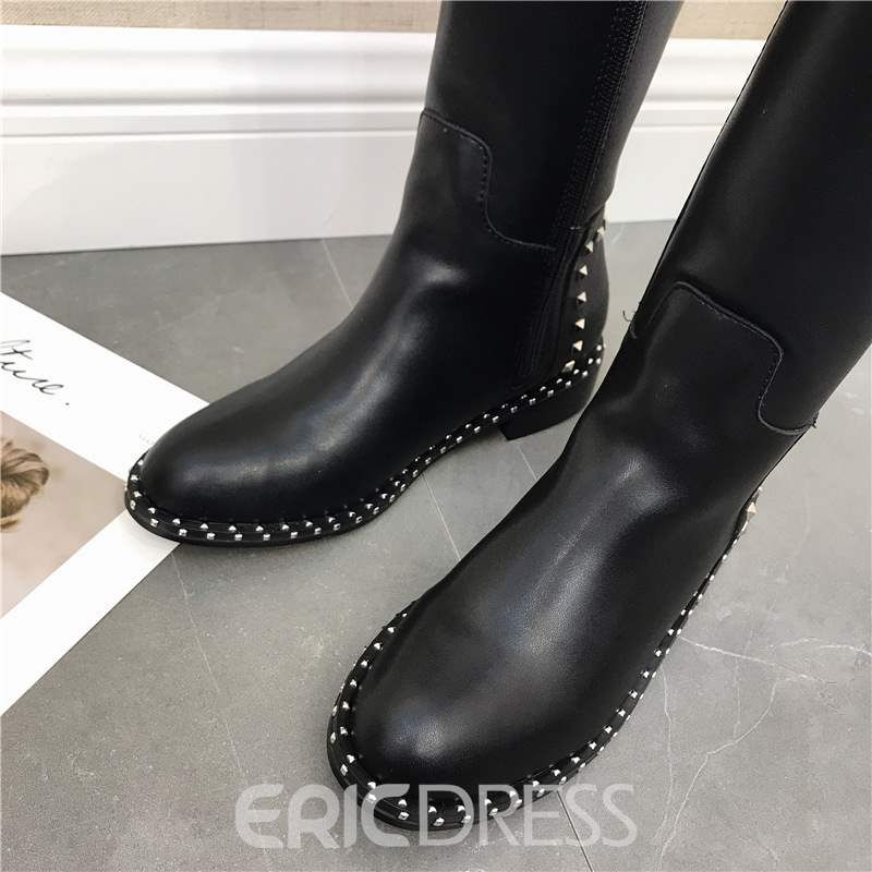 Ericdress PU Rivet Side Zipper Women's Knee High Boots