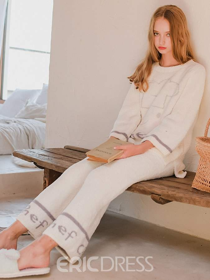 Ericdress Letter Pullover Long Women's Pajama Set