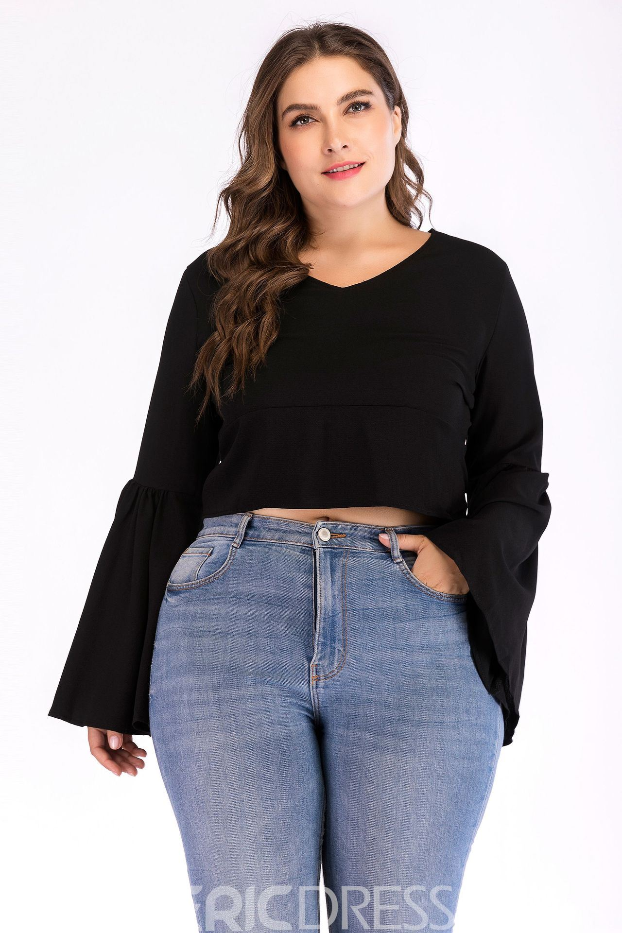 ericdress v-neck flare sleeve short casual plus size t-shirt