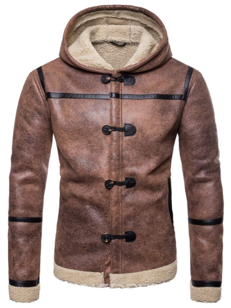 Ericdress Patchwork Hooded Cashmere Lining Mens Winter Jacket