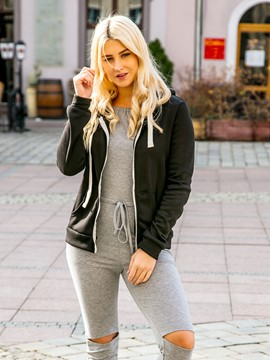Ericdress Zipper Casual Plain Cool Hoodie