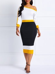 Ericdress Color Block Mid-Calf Long Sleeve Bodycon Dress thumbnail