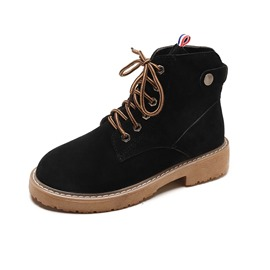 Ericdress Plain Lace-Up Front Round Toe Women's Martin Boots