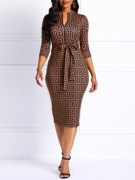 Ericdress Geometric Print V-Neck Knee-Length Bodycon Dress