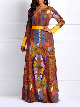 Ericdress Long Sleeves Geometric Print Floor-Length Women's Dress