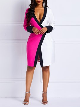 Ericdress Long Sleeves Color Block Above Knee Bodycon Dress