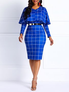 Ericdress Long Sleeve Plaid Bodycon Blue Dress