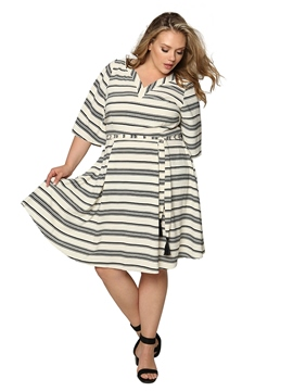 Ericdress Lace-Up V-Neck Half Sleeve Pullover A-Line Dress