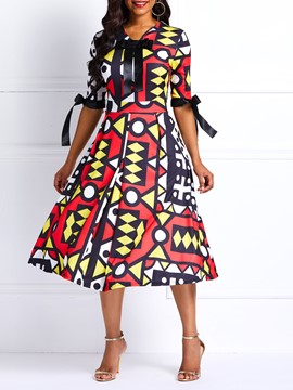 Ericdress Geometric Bowknot Half Sleeve Casual A-Line Dresses
