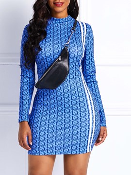 Ericdress Long Sleeve Stand Collar Print Bodycon Dress