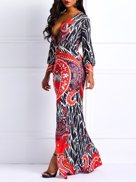 Ericdress African Fashion Mid-Calf Long Sleeve Split Mermaid Dress