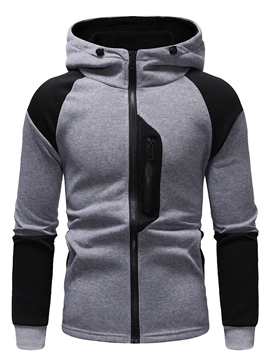 Ericdress Patchwork Zipper Mens Cardigan Hoodies