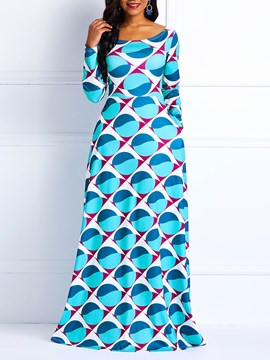Ericdress Long Sleeves Ankara Print Floor-Length Vintage Maxi Dress