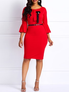 Ericdress Bowknot Falbala Sleeves Bodycon Dress