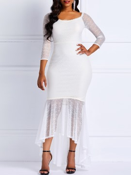 Ericdress Asymmetric Off Shoulder Lace Plain Elegant Dress