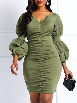 Ericdress Pullover Slash Neck Asymmetric Casual Plain Dresses